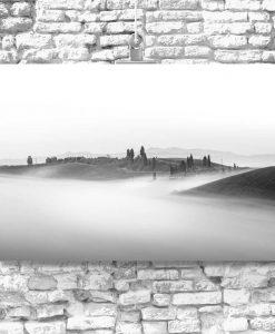 Obraz widok na wzgórza we mgle rankiem