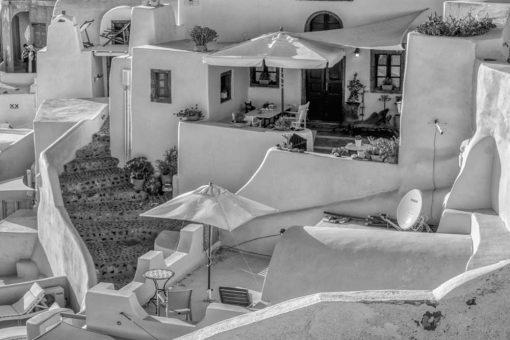 Czarno-biały obraz z widokiem na Santorini do salonu