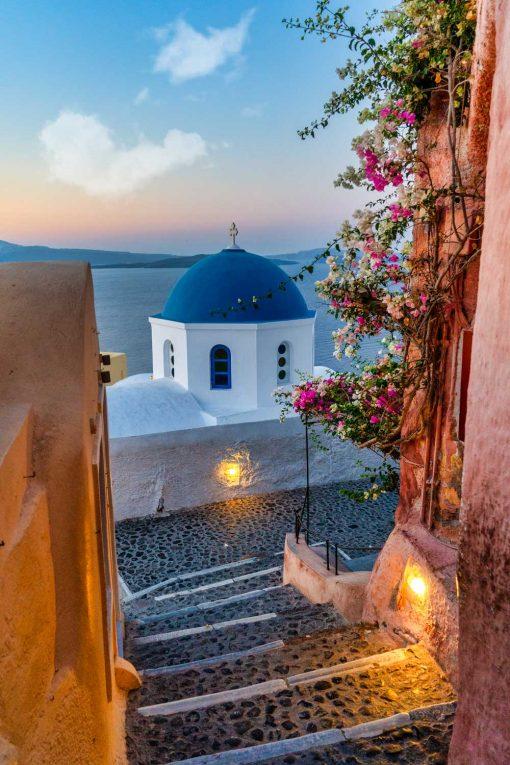 Obraz z barwnym widokiem na Santorini do biura podróży