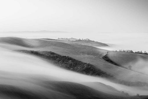 Obraz w szarym kolorze z pejzażem we mgle