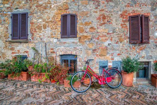 Rower - Obraz z kamienną uliczką do dekoracji gabinetu