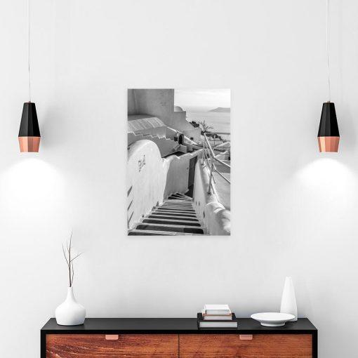 Obraz - Szare schody na Santorini do gabinetu