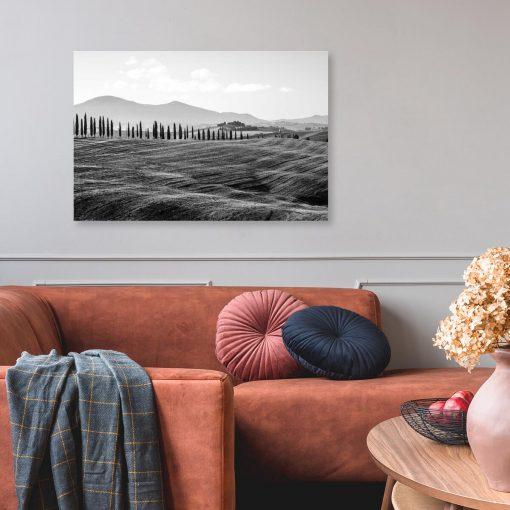 Szary obraz z widokiem gór de dekoracji gabinetu