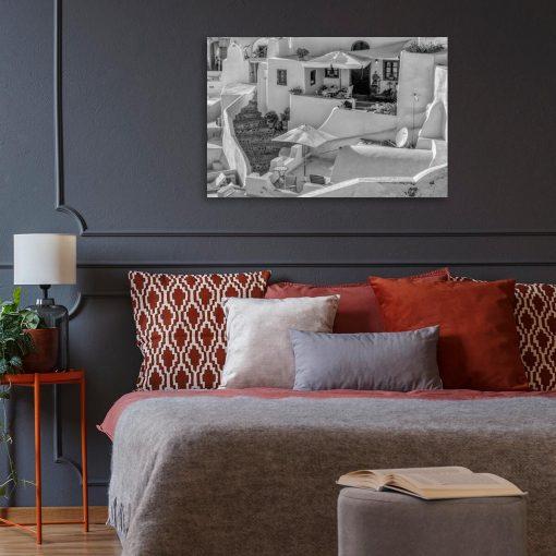 Czarno-biały obraz z widokiem na Santorini do sypialni