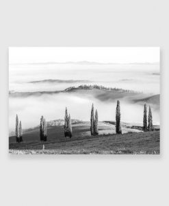 Obraz z motywem wzgórz do dekoracji biura - Czarno-biały