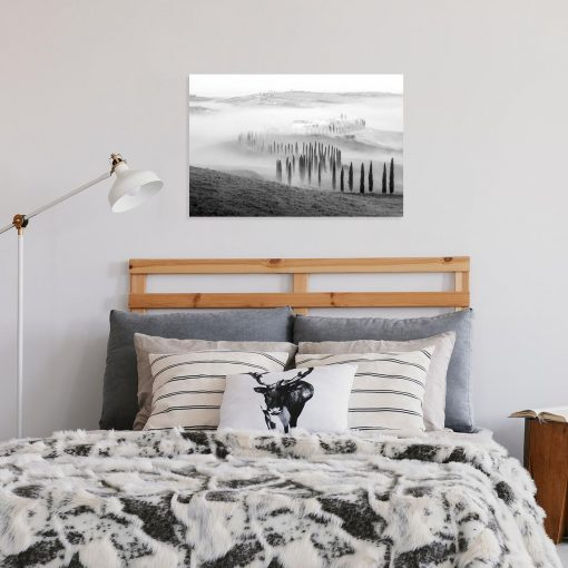 Czarno-biały obraz z krajobrazem górskim do gabinetu