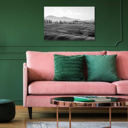 Szary obraz z widokiem gór do dekoracji sypialni