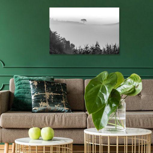 Obraz w szarościach z drzewem do ozdoby salonu