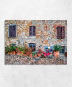 Rower - Obraz z kamienną uliczką do dekoracji biura podróży