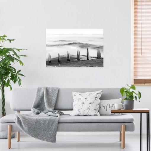 Obraz z motywem wzgórz do salonu - Czarno-biały