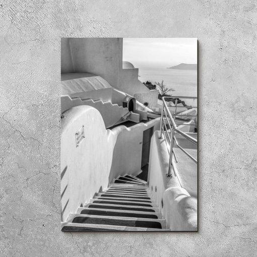 Obraz - Szare schody na Santorini do biura