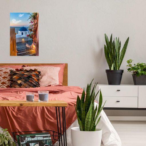 Obraz z barwnym widokiem na Santorini do sypialni