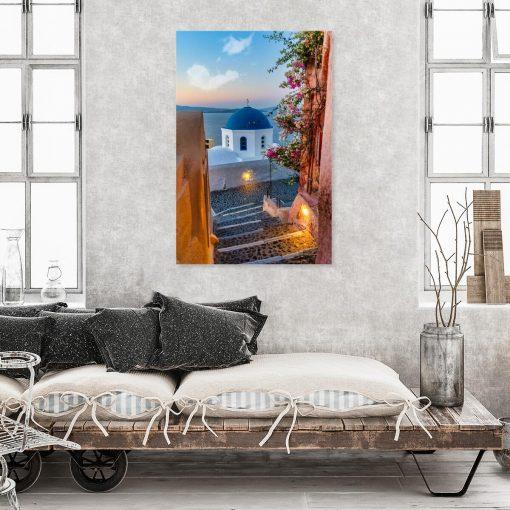 Obraz z barwnym widokiem na Santorini do gabinetu
