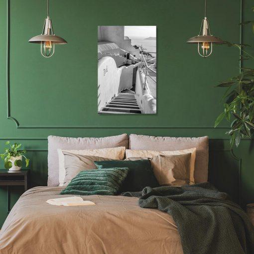Obraz - Szare schody na Santorini do sypialni