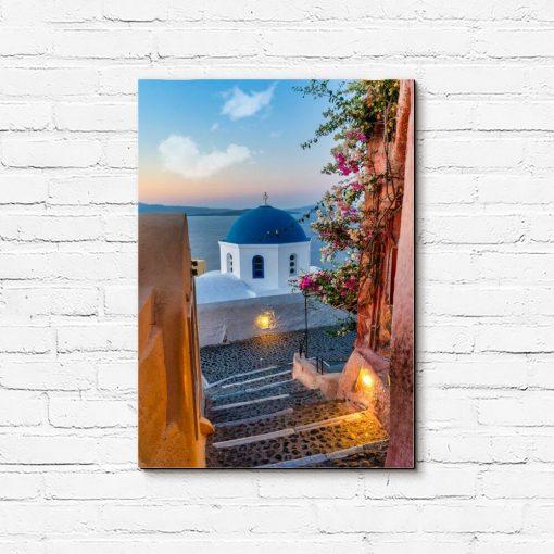 Obraz z barwnym widokiem na Santorini do dekoracji pokoju