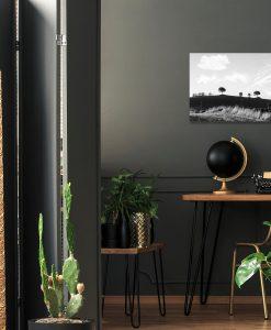 Obraz w szarej tonacji z krajobrazem
