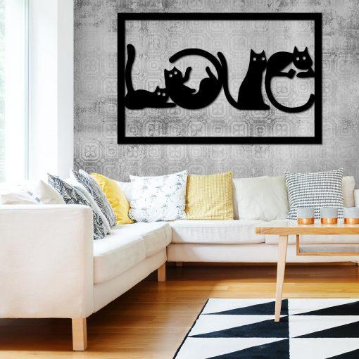 Ażurowa dekoracja przestrzenna kotki - Love
