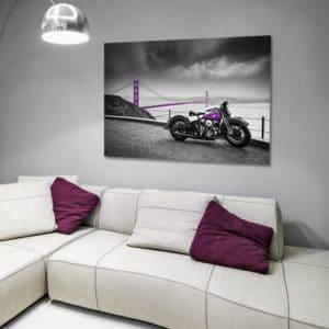 Obraz z fioletowym motocyklem