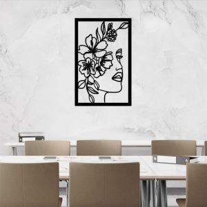 Panel dekoracyjny z kobietą i kwiatem